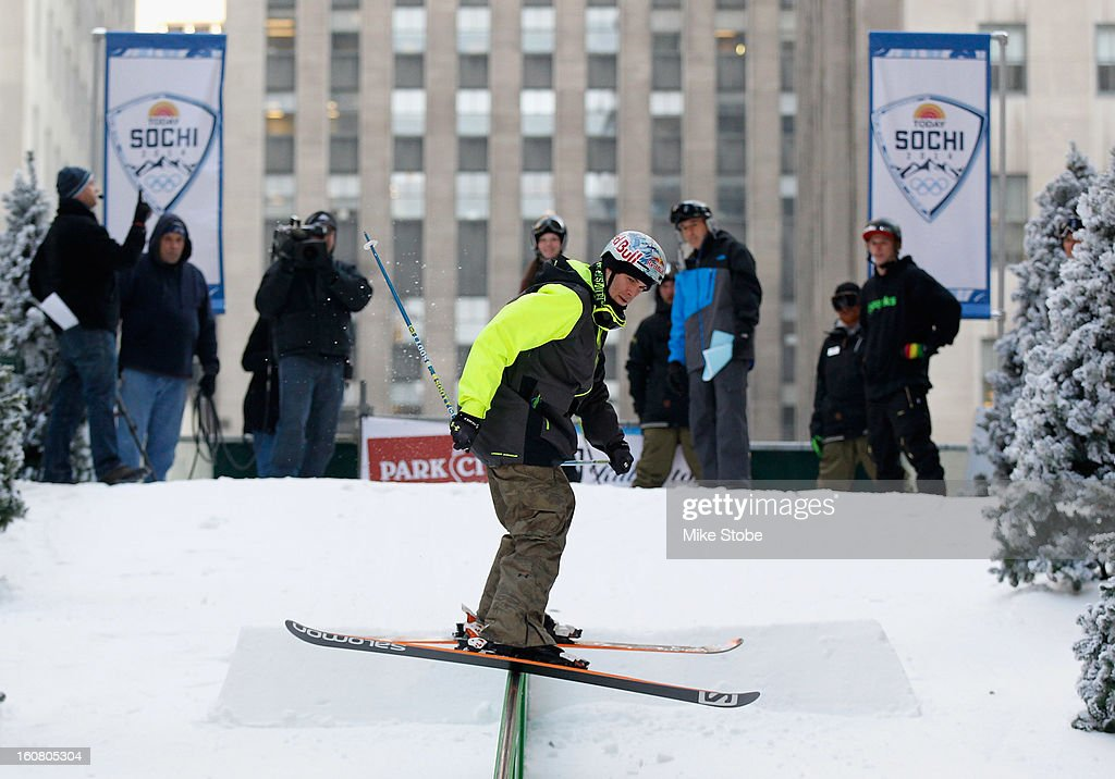 Team USA 2014 Olympic hopeful Bobby Brown demonstrated slopestyle skiing during the Today Show One Year Out To Sochi 2014 Winter Olympics celebration at NBC's TODAY Show on February 6, 2013 in New York City.