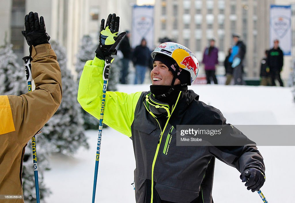 Team USA 2014 Olympic hopeful Bobby Brown high fives after demonstrated slopestyle skiing during the Today Show One Year Out To Sochi 2014 Winter Olympics celebration at NBC's TODAY Show on February 6, 2013 in New York City.