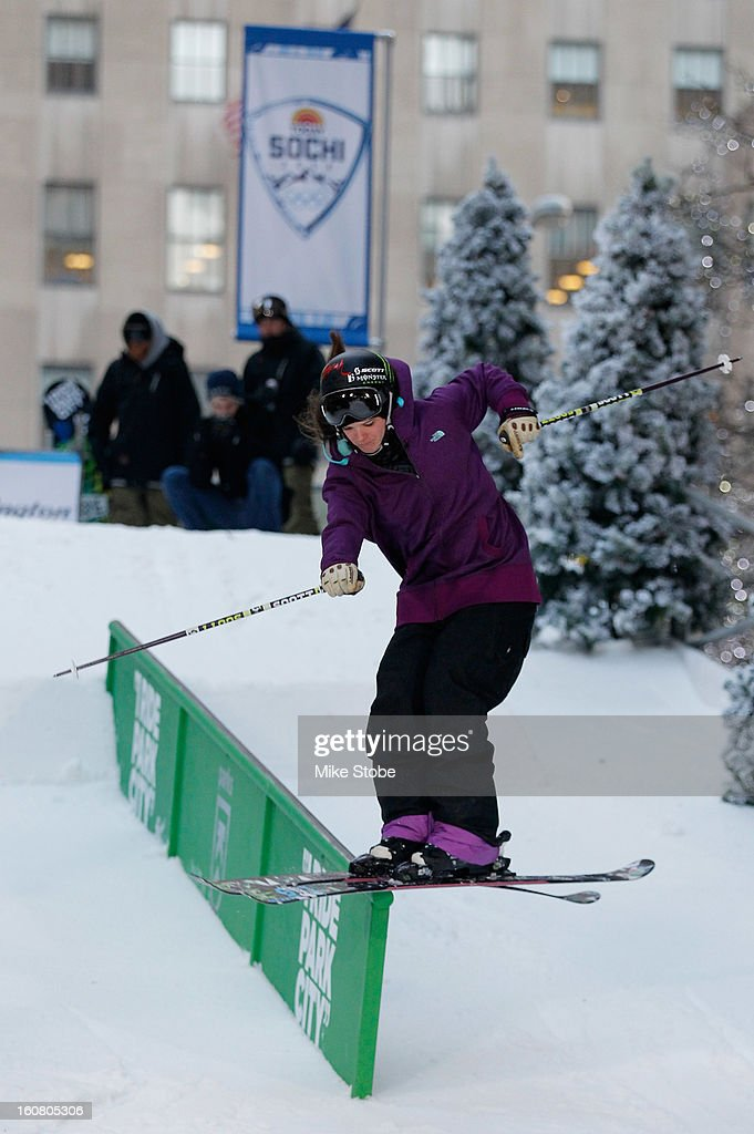 Team USA 2014 Olympic hopeful Keri Herman demonstrated slopestyle skiing during the Today Show One Year Out To Sochi 2014 Winter Olympics celebration at NBC's TODAY Show on February 6, 2013 in New York City.