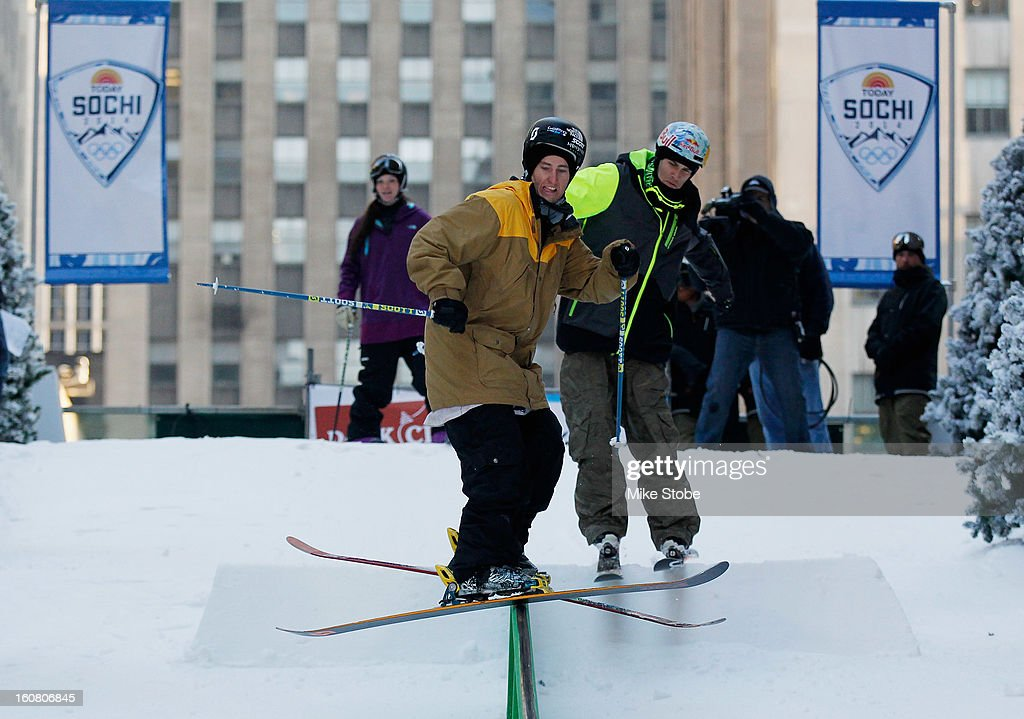 Team USA 2014 Olympic hopeful Tom Wallisch demonstrated slopestyle skiing during the Today Show One Year Out To Sochi 2014 Winter Olympics celebration at NBC's TODAY Show on February 6, 2013 in New York City.