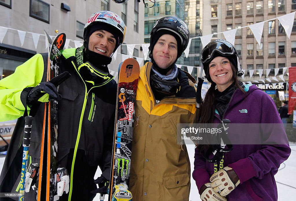 Team USA 2014 Olympic hopefuls Bobby Brown, Tom Wallisch and Keri Herman pose for a photo during the Today Show One Year Out To Sochi 2014 Winter Olympics celebration at NBC's TODAY Show on February 6, 2013 in New York City.