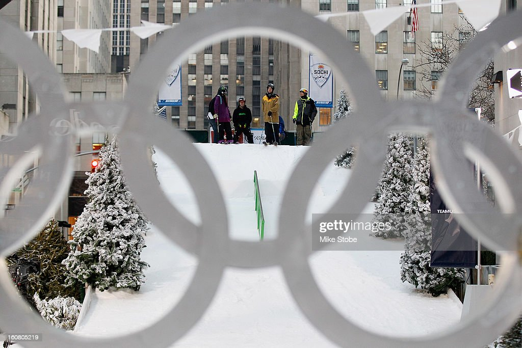 Team USA 2014 Olympic hopefuls Keri Herman, Tom Wallisch and Bobby Brown get ready for a ski demostration during the Today Show One Year Out To Sochi 2014 Winter Olympics celebration at NBC's TODAY Show on February 6, 2013 in New York City.