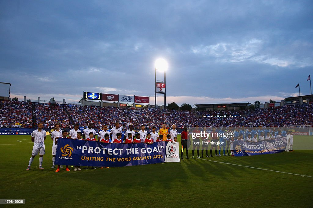 Team USA and Team Honduras make their way onto the pitch during the 2015 CONCACAF Gold Cup Group A match between USA and Honduras at Toyota Stadium on July 7, 2015 in Frisco, Texas.