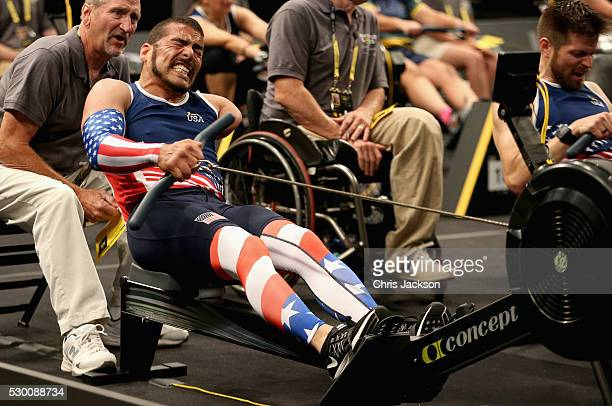 Team USA Athlete Michael Kacer competes in the rowing during the Invictus Games Orlando 2016 at ESPN Wide World of Sports on May 9 2016 in Orlando...