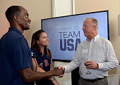 Team USA athletes Lex Gillette mingling at the Toast to Team USA Send Off presented by Bridgestone event at The Paley Center for Media on July 22...