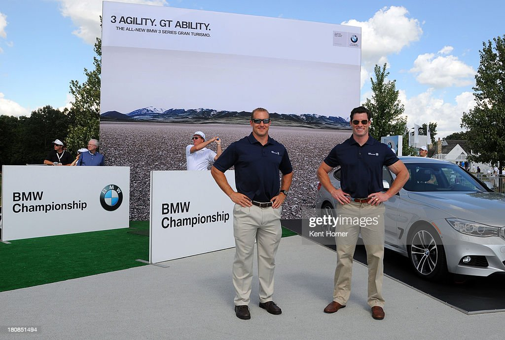 Team USA Bobsledders Curt Tomasevicz (left) and Steve Langton (right) at the BMW Experience at Conway Farms Golf Club on September 12, 2013 in Lake Forest, Illinois. Langton and Tomasevicz were at the 2013 BMW Championship to show the new two-man BMW bobsled. BMW has paired intelligent lightweight materials with optimized aerodynamics to design a two-man bobsled for USA Bobsled & Skeleton Federation. Team USA will be equipped with a fleet of two-man BMW bobsleds to prepare them on their road to the 2014 Sochi Olympic Winter games and beyond.
