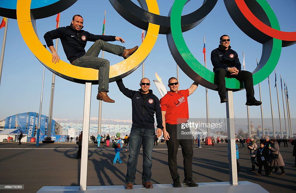 Team USA Bobsledders <a gi-track='captionPersonalityLinkClicked' href=/galleries/search?phrase=Nick+Cunningham&family=editorial&specificpeople=4233037 ng-click='$event.stopPropagation()'>Nick Cunningham</a>, <a gi-track='captionPersonalityLinkClicked' href=/galleries/search?phrase=Justin+Olsen&family=editorial&specificpeople=5631188 ng-click='$event.stopPropagation()'>Justin Olsen</a>, <a gi-track='captionPersonalityLinkClicked' href=/galleries/search?phrase=Dallas+Robinson&family=editorial&specificpeople=10116784 ng-click='$event.stopPropagation()'>Dallas Robinson</a> and Johnny Quinn pose together in the Olympic Park during the Sochi 2014 Winter Olympics on February 8, 2014 in Sochi, Russia.