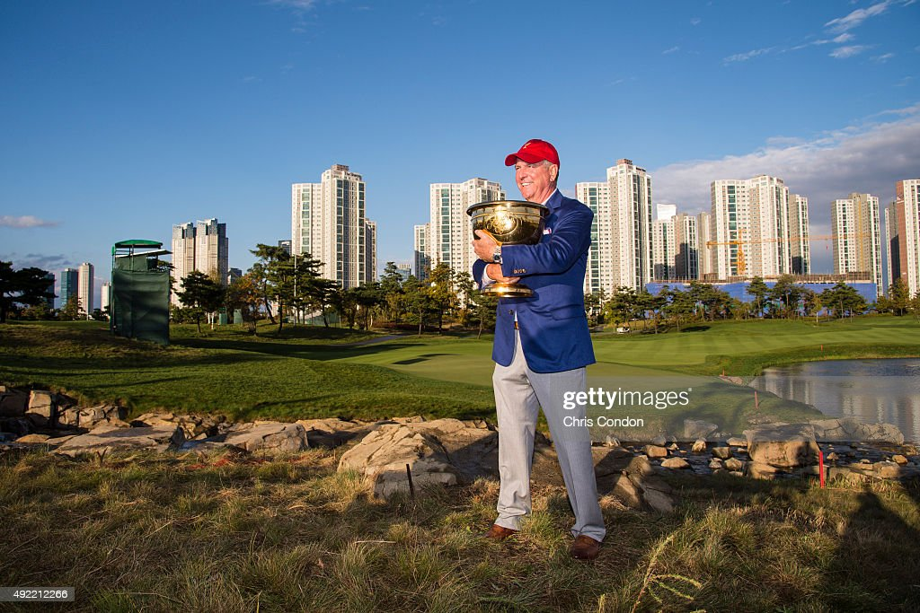 Team USA Captain Jay Haas poses with the Presidents Cup trophy following his team's one point victory against the International Team during Sunday singles matches in the final round of The Presidents Cup at Jack Nicklaus Golf Club Korea on October 11, 2015 in Songdo IBD, Incheon City, South Korea.