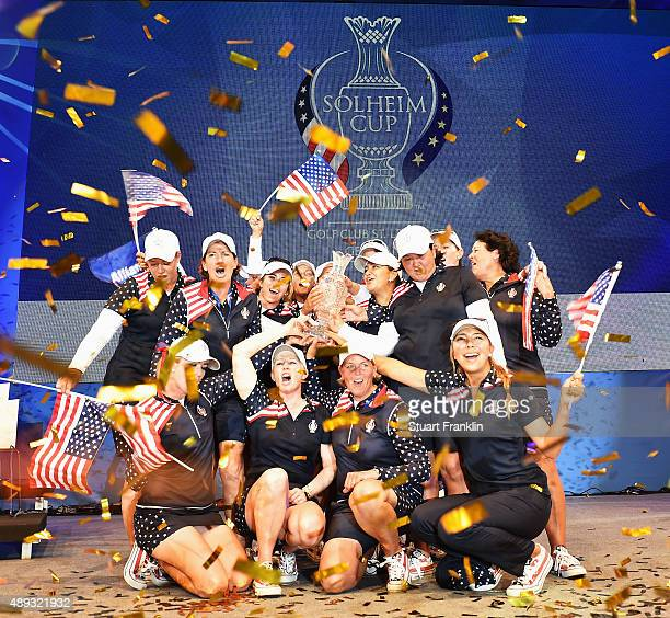 Team USA celebrate after winning The Solheim Cup at St LeonRot Golf Club on September 20 2015 in St LeonRot Germany