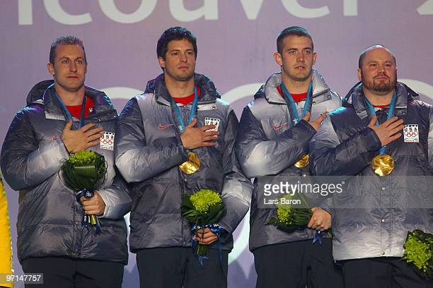 Team USA celebrate Gold during the medal ceremony for the Men's FourMan Bobsleigh on day 16 of the Vancouver 2010 Winter Olympics at Whistler Medals...