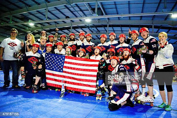 Team USA celebrate winning the Men's Roller Derby World Cup at Futsal Arena on March 16 2014 in Birmingham England