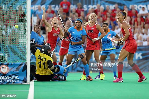 Team USA celebrates after scoring a second half goal against Team India during their 32 win during a field hockey match in preparation for the...
