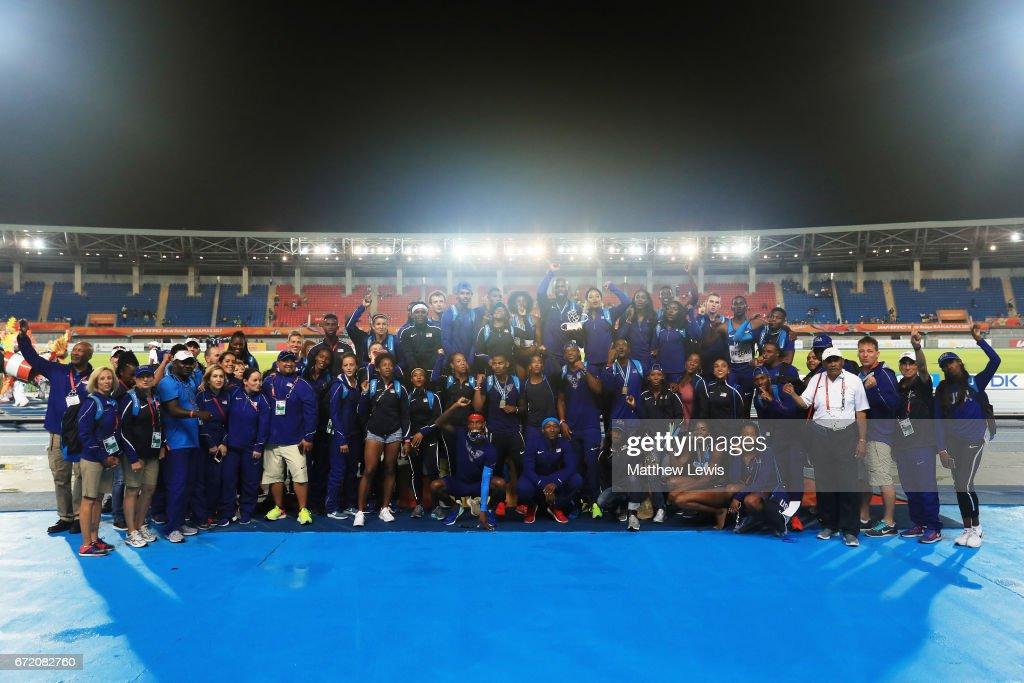 Team USA celebrates after winning the IAAF/BTC World Relays Bahamas 2017 at Thomas Robinson Stadium on April 23, 2017 in Nassau, Bahamas.