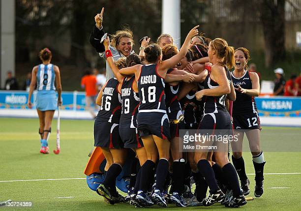 Team USA celebrates winning the Field Hockey Gold Medal match against Argentina during Day 14 of the XVI Pan American Games at the Pan American...