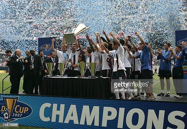 Team USA celebrates with the trophy after their 21 win against Mexico during the CONCACAF Gold Cup Final match at Soldier Field on June 24 2007 in...