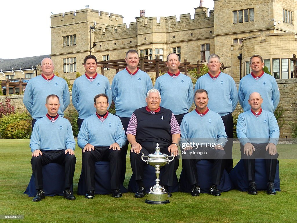 Team USA (Back Row from L to R) Chip Sullivan, Ryan Polzin, Jeff Sorenson, Mike Small, Bob Sowards, Rod Perry (Front Row L to R) Kelly Mitchum, Matt Dobyns, Allen Wronowski (capt), JC Anderson and Mark Sheftic pose for a photograph ahead of the 26th PGA Cup at De Vere Slaley Hall at De Vere Slaley Hall on September 18, 2013 in Hexham, England.