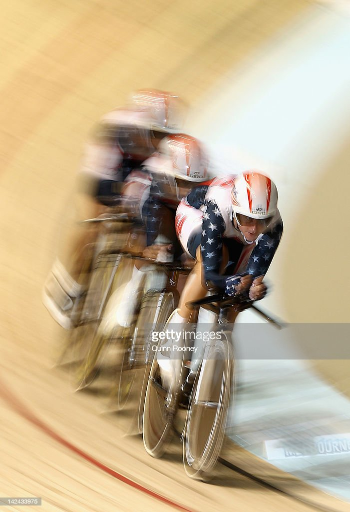 Team USA compete in the Women's Team Pursuit during day two of the 2012 UCI Track Cycling World Championships at Hisense Arena on April 5 2012 in...