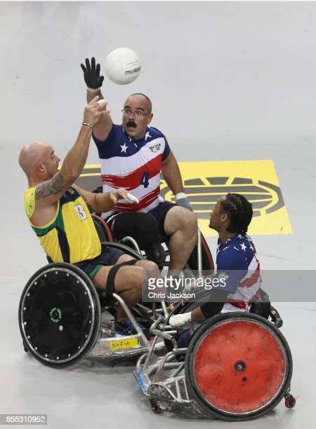 Team USA competes against team Australia in the Wheelchair Rugby competition during the Invictus Games 2017 at Mattamy Athletics Centre on September...