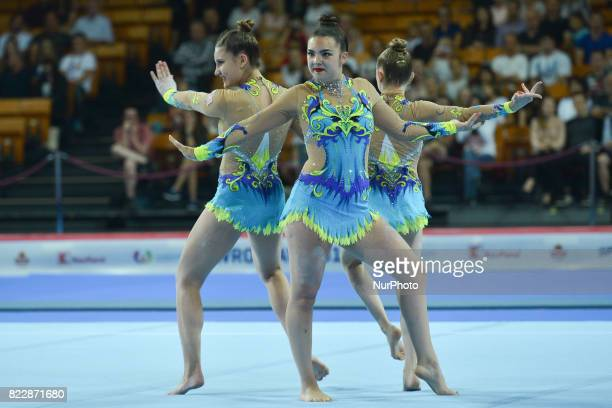 Team USA competes during Women's Groups AllAround Final Exercise of The World Games 2017 at the National Forum of Music On Tuesday July 25 in Wroclaw...