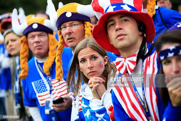 Team USA fans look focused during the Singles Matches of the 2014 Ryder Cup on the PGA Centenary course at the Gleneagles Hotel on September 28 2014...