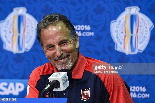 Team USA head coach John Tortorella answers questions during Media day at the World Cup of Hockey 2016 at Air Canada Centre on September 15 2016 in...