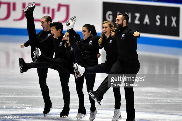 Team USA is introduced at the opening ceremony during day one of the ISU World Team Trophy 2017 at Yoyogi National Gymnasium on April 20 2017 in...