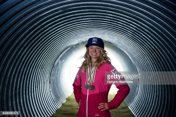 Team USA Medal winner Jessica Diggins poses for a portrait with her medals at the FIS Nordic World Ski Championships on March 5 2017 in Lahti Finland