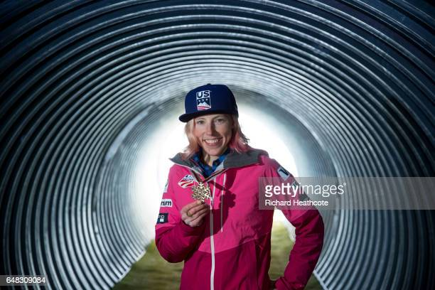 Team USA Medal winner Kikkan Randall poses for a portrait with her medal at the FIS Nordic World Ski Championships on March 5 2017 in Lahti Finland