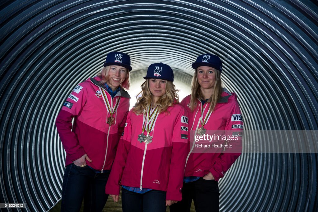Team USA Medal winners Kikkan Randall, Jessica Diggins and Sadie Bjornsen pose for a portrait with their medals at the FIS Nordic World Ski Championships on March 5, 2017 in Lahti, Finland.