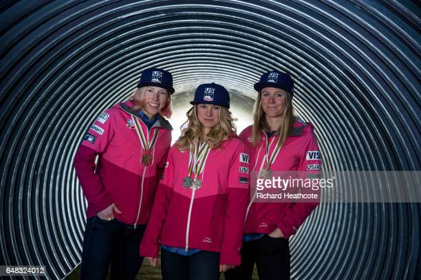Team USA Medal winners Kikkan Randall Jessica Diggins and Sadie Bjornsen pose for a portrait with their medals at the FIS Nordic World Ski...