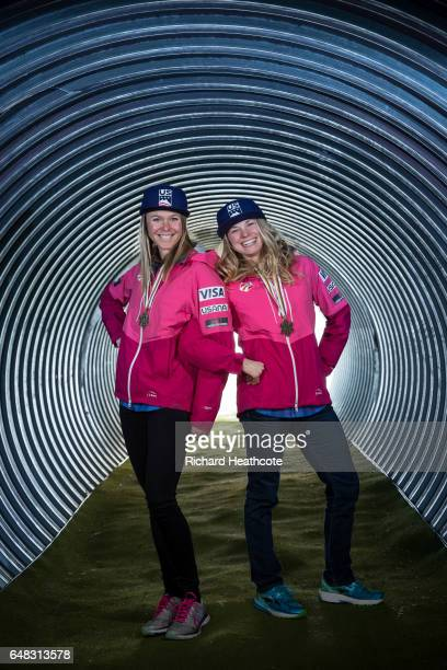Team USA Medal winners Sadie Bjornsen and Jessica Diggins pose for a portrait with their medals at the FIS Nordic World Ski Championships on March 5...