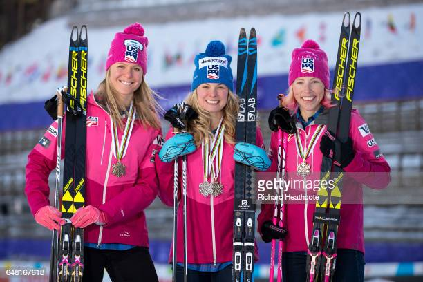 Team USA Medal winners Sadie Bjornsen Jessica Diggins and Kikkan Randall pose for a portrait with their medals at the FIS Nordic World Ski...