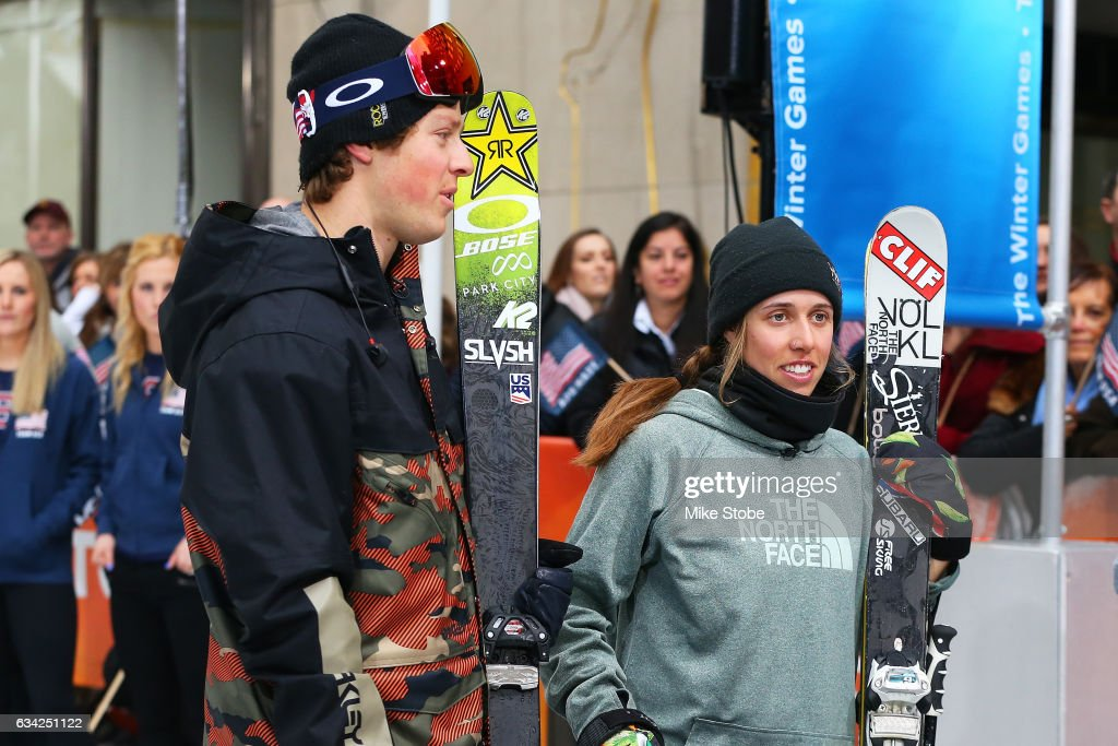 Team USA Olympic hopefull Joss Christensen and Maddie Bowman are interviewed during NBC's TODAY Show on February 8, 2017 in New York City. Team USA celebrates the one-year countdown to the Olympic Winter Games PyeongChang 2018.