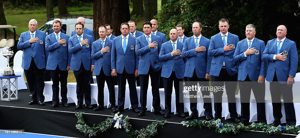 Team USA pictured during the opening ceremony ahead of the 26th PGA Cup at De Vere Slaley Hall on September 19, 2013 in Hexham, England.