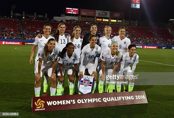 Team USA poses for a photo before play against Costa Rica during 2016 CONCACAF Women's Olympic Qualifying at Toyota Stadium on February 10 2016 in...