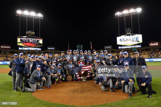 Team USA poses for a photo on mound after winning Game 3 of the Championship Round of the 2017 World Baseball Classic on Wednesday March 22 2017 at...