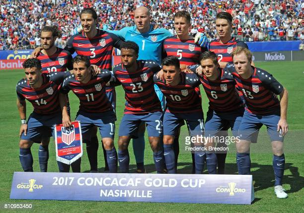 Team USA poses for a photo prior to a CONCACAF Gold Cup Soccer match against Panama at Nissan Stadium on July 8 2017 in Nashville Tennessee