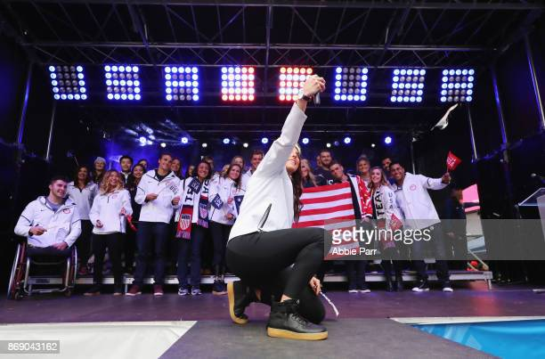 Team USA poses for a portrait during the 100 Days Out 2018 PyeongChang Winter Olympics Celebration Team USA in Times Square on November 1 2017 in New...