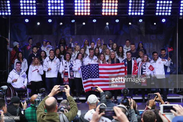 Team USA poses on stage during the 100 Days Out 2018 PyeongChang Winter Olympics Celebration in Times Square on November 1 2017 in New York City