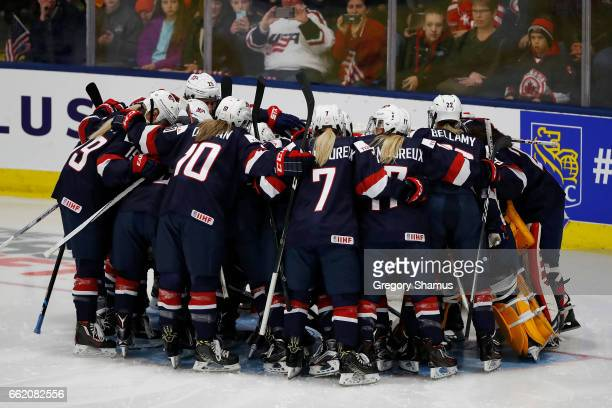 Team USA prepares to play Canada in their opening game at the 2017 IIHF Womans World Junior Championships at USA Hockey Arena on March 31 2017 in...