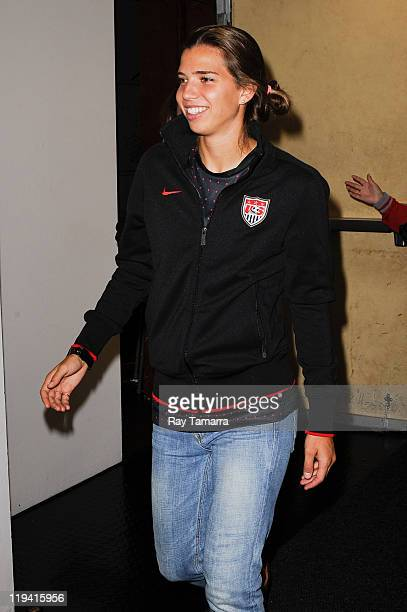 Team USA soccer player Tobin Heath enters the 'Good Morning America' taping at the ABC Times Square Studios on July 19 2011 in New York City