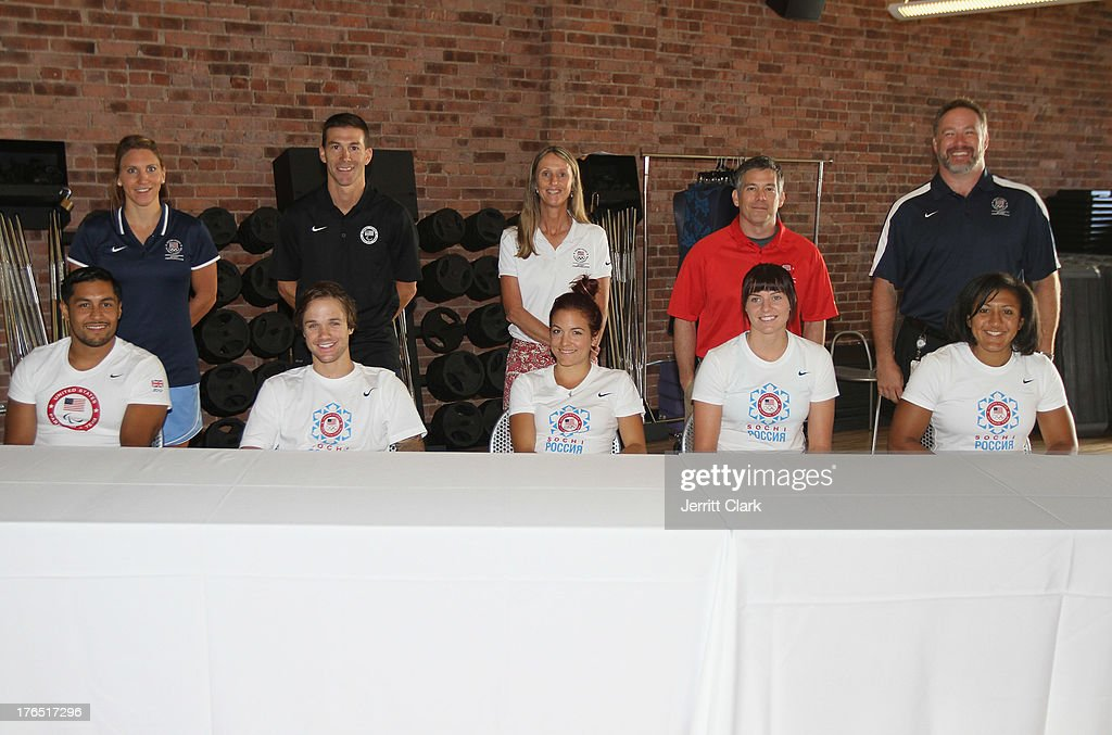 Team USA Trainers Amanda Wittenmyer, John Farra, Susie Parker-Simmons, Alex Cohen, Scott Riewald and Olympians Rico Roman, <a gi-track='captionPersonalityLinkClicked' href=/galleries/search?phrase=Louie+Vito&family=editorial&specificpeople=787538 ng-click='$event.stopPropagation()'>Louie Vito</a>, <a gi-track='captionPersonalityLinkClicked' href=/galleries/search?phrase=Elena+Hight&family=editorial&specificpeople=818973 ng-click='$event.stopPropagation()'>Elena Hight</a>, <a gi-track='captionPersonalityLinkClicked' href=/galleries/search?phrase=Heather+Richardson&family=editorial&specificpeople=5762781 ng-click='$event.stopPropagation()'>Heather Richardson</a> and <a gi-track='captionPersonalityLinkClicked' href=/galleries/search?phrase=Elana+Meyers&family=editorial&specificpeople=5631239 ng-click='$event.stopPropagation()'>Elana Meyers</a> attend the Team USA High Performance Training Experience at 24 Hour Fitness on August 14, 2013 in New York City.