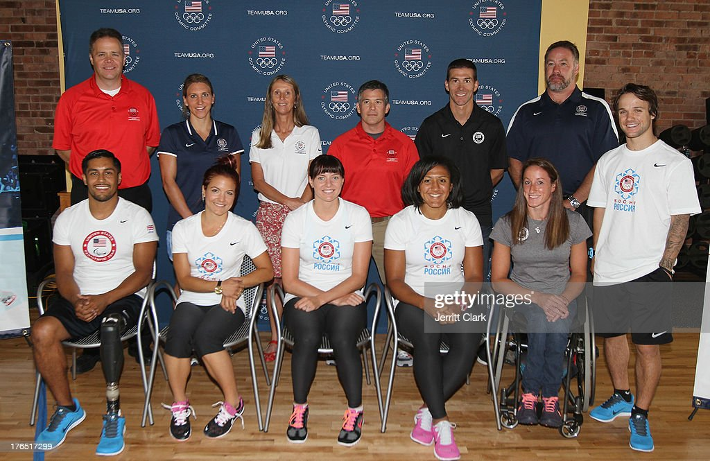 Team USA Trainers Kelly Skinner, Amanda Wittenmyer, Susie Parker-Simmons, Alex Cohen, John Farra, Scott Riewald and Olympians Rico Roman, <a gi-track='captionPersonalityLinkClicked' href=/galleries/search?phrase=Elena+Hight&family=editorial&specificpeople=818973 ng-click='$event.stopPropagation()'>Elena Hight</a>, <a gi-track='captionPersonalityLinkClicked' href=/galleries/search?phrase=Heather+Richardson&family=editorial&specificpeople=5762781 ng-click='$event.stopPropagation()'>Heather Richardson</a>, <a gi-track='captionPersonalityLinkClicked' href=/galleries/search?phrase=Elana+Meyers&family=editorial&specificpeople=5631239 ng-click='$event.stopPropagation()'>Elana Meyers</a>, <a gi-track='captionPersonalityLinkClicked' href=/galleries/search?phrase=Tatyana+McFadden&family=editorial&specificpeople=2907000 ng-click='$event.stopPropagation()'>Tatyana McFadden</a> and <a gi-track='captionPersonalityLinkClicked' href=/galleries/search?phrase=Louie+Vito&family=editorial&specificpeople=787538 ng-click='$event.stopPropagation()'>Louie Vito</a> attend the Team USA High Performance Training Experience at 24 Hour Fitness on August 14, 2013 in New York City.