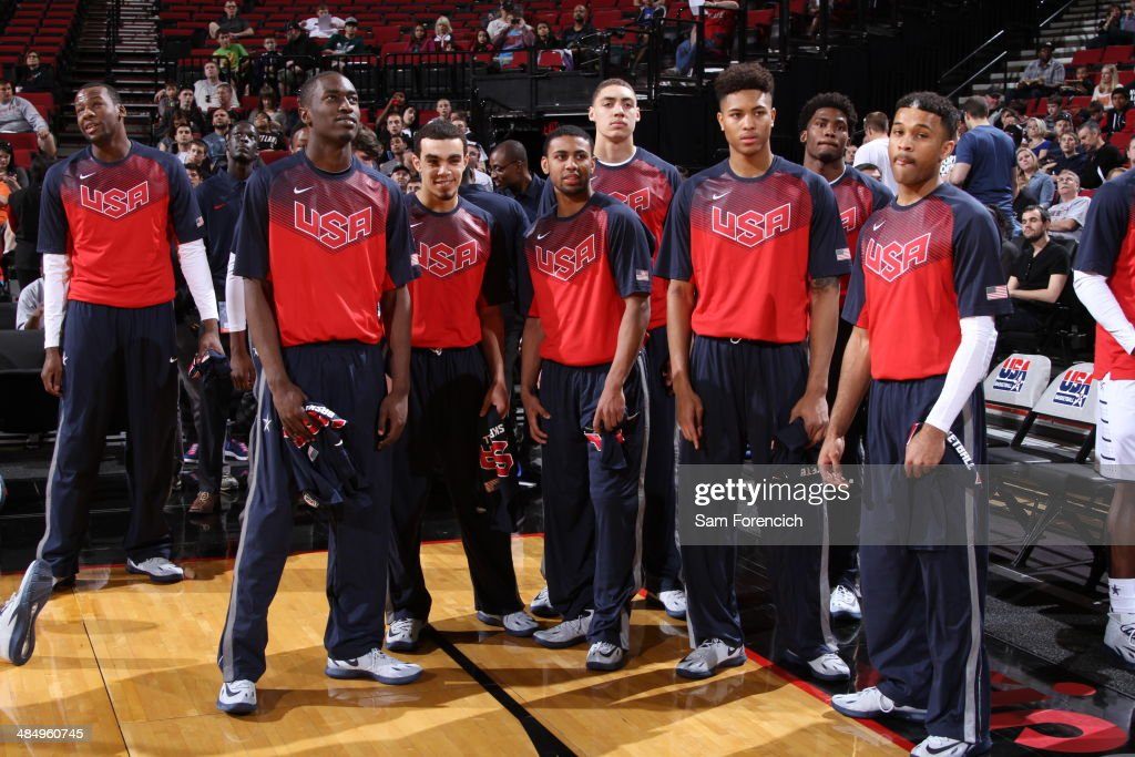 Team USA waits to play against the World Team on April 12, 2014 at the Moda Center Arena in Portland, Oregon.