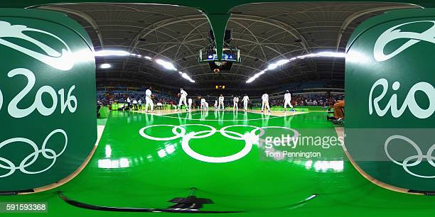 Team USA warm up before their Men's Basketball Quarterfinal game against Argentina at Carioca Arena 1 on Day 12 of the Rio 2016 Olympic Games on...