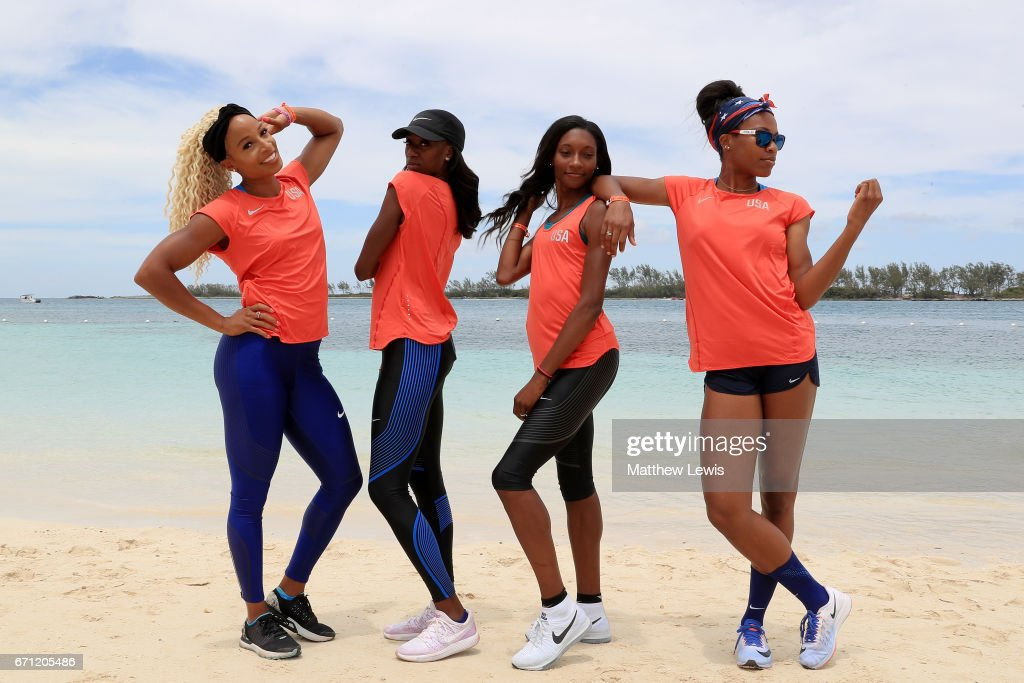 Team USA Women's 4x400 athletes Natasha Hastings, Ashley Spencer, Phyllis Francis and Quanera Hayes pose on the beach prior to the IAAF / BTC World Relays Bahamas 2017 at the Hilton Nassau Hotel on April 21, 2017 in Nassau, Bahamas.