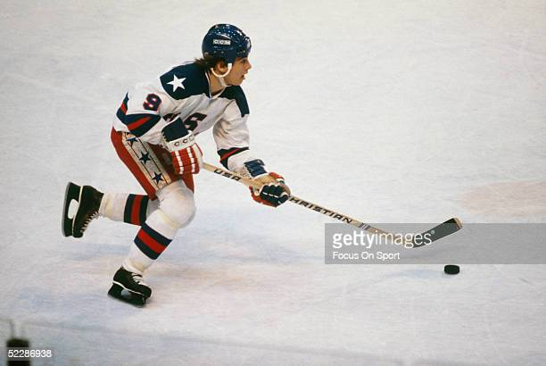 Team USA's center Neal Broten skates with the puck during the XIII Olympic Winter Games in February of 1980 in Lake Placid New York