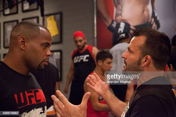 Team Valasquez assistant coach Daniel Cormier argues with Team Werdum's assistant coach after the controversial fight between Team Velasquez fighter...