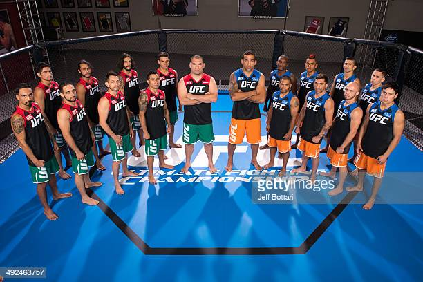 Team Velasquez and Team Werdum pose for a group portrait inside the Octagon on media day during filming of The Ultimate Fighter Latin America on May...
