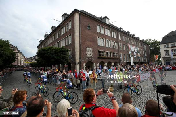Team WantyGroupe Gobert rides during the team presentation for the 2017 Le Tour de France on June 29 2017 in Duesseldorf Germany